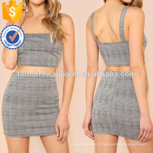 Houndstooth Print Et Side Stripe Détail Crop Top Avec Jupe Correspondant Fabrication En Gros Mode Femmes Vêtements (TA4086SS)