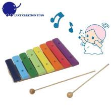 Arco de madeira de madeira 8 notas brinquedo xilofone
