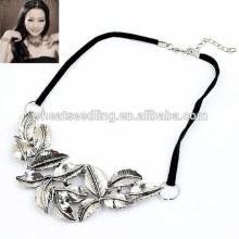 Retro Leder Seil Silber Blatt Halskette