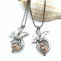 Popular korean styles necklace set white gold jewelry single crystal stone pendant necklaces