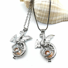 Fashion Dragon Pearl Bead Cage Pendant Necklace