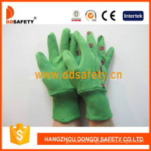 Green Cotton Garden Gloves. Printing Coccinella Back (DGB214)