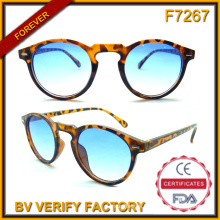 F7267 Round Shape Plastic Demi Pattern Classic Sun Eyeglasses with Blue Lens
