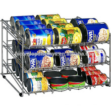 Snack Shop Útil barato Tabletop Chroming Nickel Metal Wire 3-Layer Alimentos enlatados Display Stand