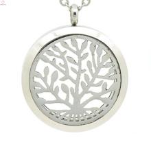 Médaillon de parfum de vente d'acier inoxydable, collier d'huile essentielle, médaillon d'arbre de la vie