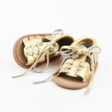 New Arrival Gold Woven Newborn Baby Sandals Summer