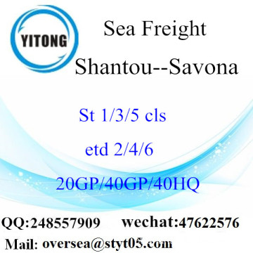 Shantou Port Sea Freight Shipping Para Savona