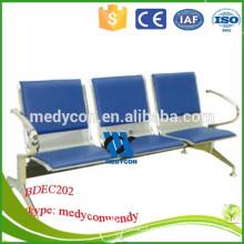 3 plazas sillas públicas silla de acero inoxidable de espera