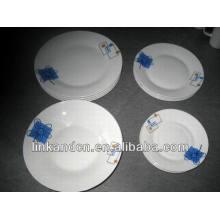 Haonai ручной работы навалом белый керамический набор посуда плита