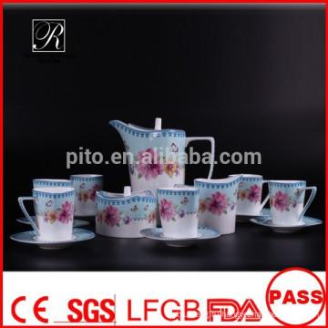 P & T 2015 новый продукт костяной фарфор чайный сервиз кофейный набор цветы элегантный дизайн