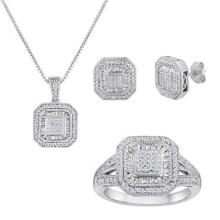 Micro Pave Setting Jewelry Set Jóias de prata esterlina 925
