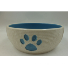 Stoneware Cat Bowl with Paws