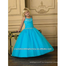 Turquesa rebordeado appliqued ruched vestido de bola de flores por encargo desfile de vestidos de niñas CWFaf4882