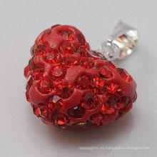 Colgante cristalino rojo al por mayor de la arcilla de la llegada 15MM del corazón de Shamballa del regalo de la Navidad nuevo pendiente de la arcilla para la joyería de DIY
