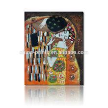La pintura al óleo reproductiva del beso / arte de la lona de Gustavo Klimt / impresión famosa de la pintura