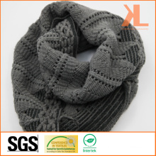 100% Acrylic Fashion Lady Gray Warp Knitted Neck Scarf