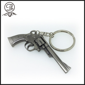 Imitation antique revolver shape metal key rings