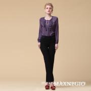Elegant Purple Women Business Shirt Spring Autumn Clothing (6-57469)