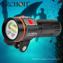 """2600 Lumens LED Dive Light Underwater Video Light with 1"""" Ball Arm Mounting Bracket"""
