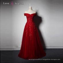 LSQ005 fora de ombro, appliques, contas, elegante, luxo, mulheres, vestidos, longo, vermelho, noite, vestido