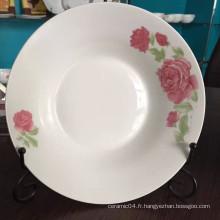 assiette à soupe ronde en céramique, assiette en porcelaine bon marché, assiette à soupe