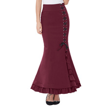 Belle Poque Womens High Stretchy Nylon-Algodón Vintage Retro Ruffled Fishtail Sirena Estilo Victoriano Vino Falda Larga BP000203-3