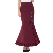 Belle Poque Womens High Stretchy Nylon-Cotton Vintage Retro Ruffled Fishtail Mermaid Victorian Style Wine Long Skirt BP000203-3