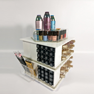Spinning Counter Organizer Makeup Kosmetik Putih