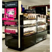Quimico de perfume de luxo acrílico e de madeira conciso para venda, Kiosco de perfumes cosméticos de centro comercial