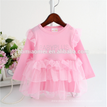 Chine usine fournir rose couleur à manches longues Chaud forage infantile princesse robe doux coton dentelle barboteuse avec prix pas cher