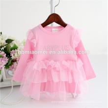 China fornecimento de fábrica rosa cor manga longa quente de perfuração infantil princesa vestido de algodão macio rendas romper com preço barato