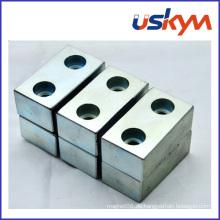 NdFeB Magnet mit zwei Löchern Neodym-Block-Magnet Permanent Magnet