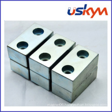 NdFeB Magnet with Two Holes Neodymium Block Magnet Permanent Magnet