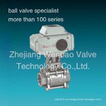 Válvula de bola eléctrica de acero inoxidable 3PC