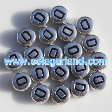 Silver Metallic Single Alphabet Letter Coin Round Beads 4X7MM