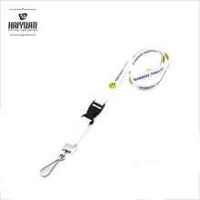 Environment Red on White Durable Polyester Lanyards with Metal Swivel J Clip