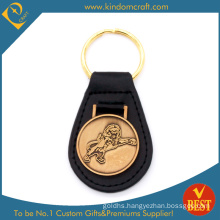 Wholesale Custom Gold Plating Lion Badge Metal Leather Key Ring for Promotional Gifts