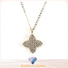La joyería de la manera de la mujer cuatro hojas Rhoant del trébol plateó el collar pendiente N6609