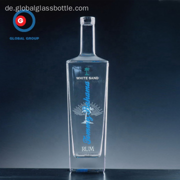 Clear SGS 500ml 700ml 750ml Square Liquor Glasflasche