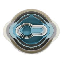 8pcs Plastic Mixing Bowl Set Measuring Cups