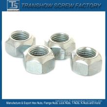 Acier au carbone de la taille M8 DIN980V tout l'écrou hexagonal de serrure en métal