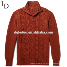 Suéter de jersey de cuello alto de lana 100% merino de alta calidad para hombres