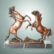 Животная бронзовая скульптура Двойная лошадь с резьбой Деку латунная статуя Tpal-255