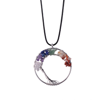 Chakras Gemstone Tree of Life Pendant Necklace