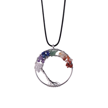 Chakras Gemstone Tree of Life Pendant Necklace