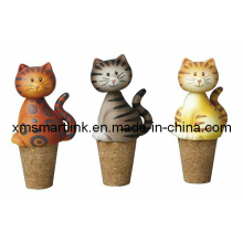 Poly Resin Cat Design Wine Bottle Stopper Gifts