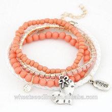 Bracelet en perles à la mode Bracelet en cuir Bracelet en béton en vrac incrusté en vrac avec perles brillantes Coeur