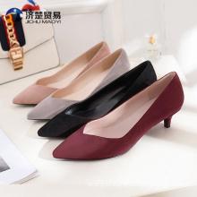 Autumn solid color flannel kitten sandals shoes women 2017 high heels