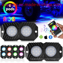 RGB LED Rock Lights, Lights with Bluetooth Controller &Timing & Flashing & 16 Millions Colors Waterproof LED Neon Interior Lights for Cars Jeep off Road