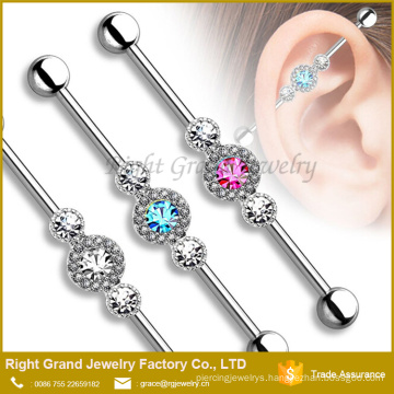 Three CZ Centered multi-paved circle 316L Surgical Steel Industrial Barbell